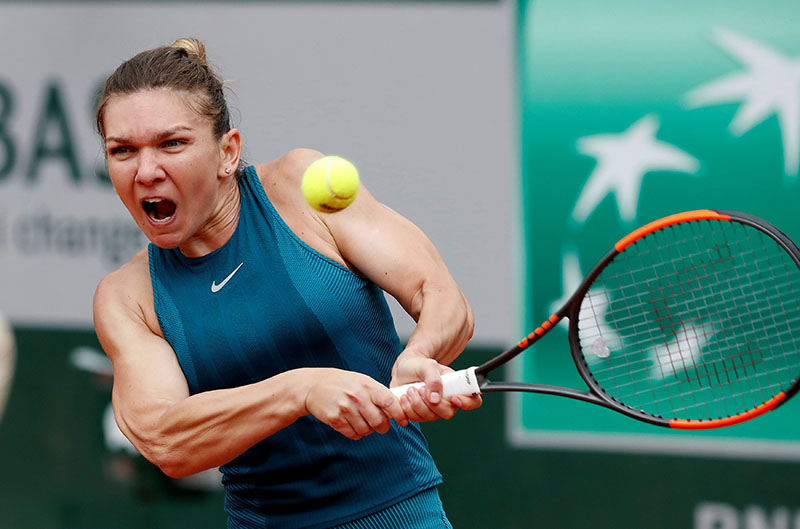Romania's Simona Halep in action during her first round match against Alison Riske of the US in French Open, Roland Garros, in Paris, France, on May 30, 2018. Photo: Reuters