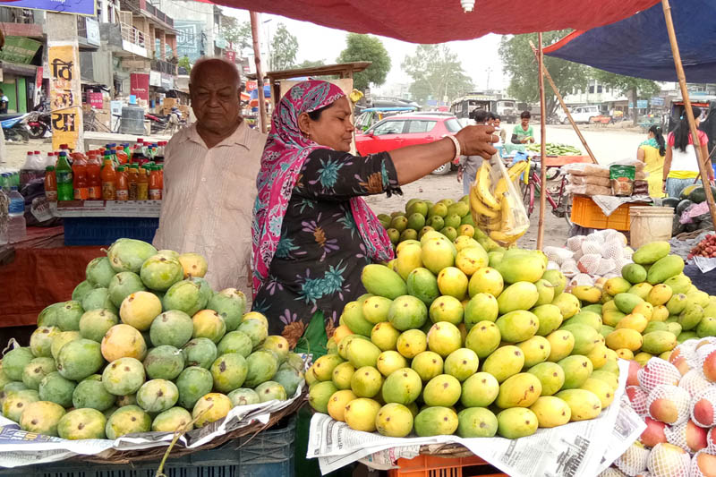 FILE PHOTO: A woman vendor awaits customers in Chanauta of Kapilvastu district, on Friday, June 9, 2017. Photo: RSS