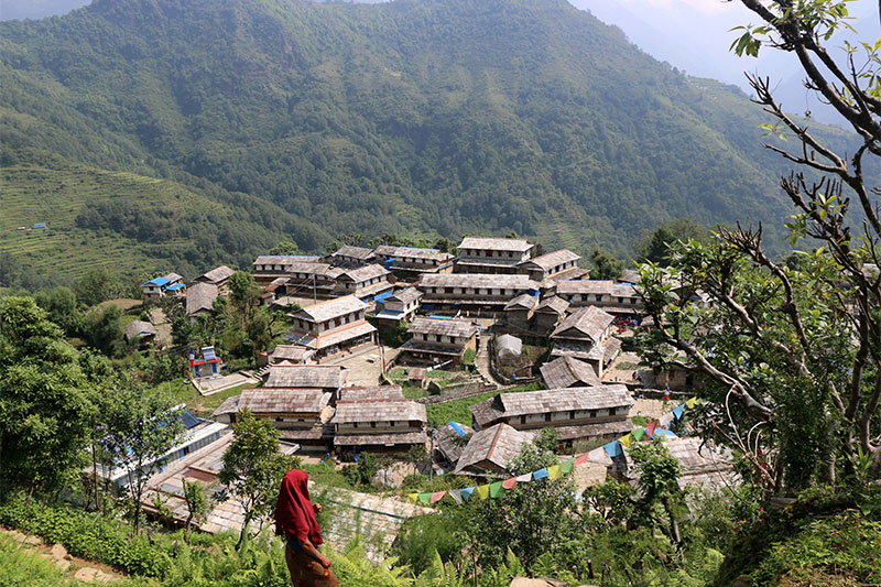 A view of classic Ghandruk village along the Annapurna trekking trail in Kaski district, on Wednesday, May 30, 2018. Photo: RSS