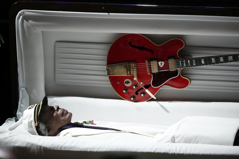 File- This photo shows a Gibson ES-335 is attached to the lid of Chuck Berryu2019s casket during a celebration of life for the rock u2018nu2019 roll legend in St. Louis on  April 9, 2017. Photo: AP