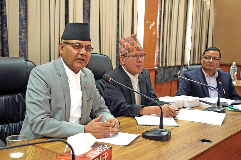 Minister of State for Communications and Information Technology Gokul Baskota speakingat an interaction, in Kathmandu, on Sunday, May 6, 2018. Photo: THT