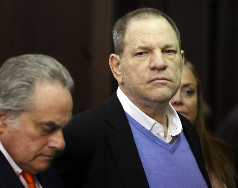 Harvey Weinstein, right, appears at his arraignment with his lawyer Benjamin Brafman, in Manhattan Criminal Court on Friday, May 25, 2018 in New York. Photo: AP