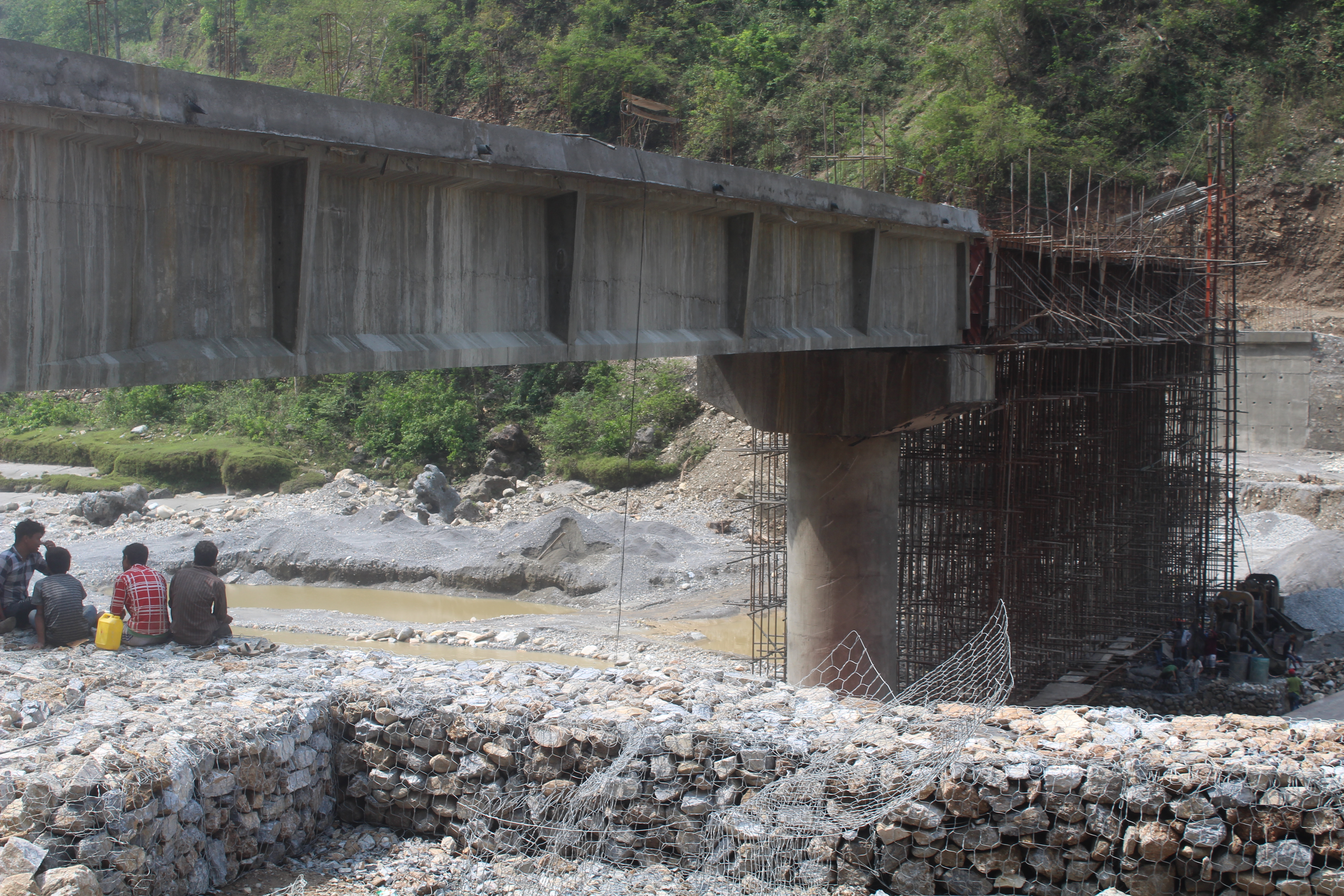 A 105 metre long under construction motor-able bridge over Seti river in Tanahun district as seen on Saturday, May 5, 2018. Photo: Madan Wagle