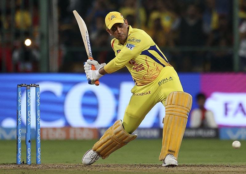 Chennai Super Kings' captain Mahendra Singh Dhoni bats during the VIVO IPL Twenty20 cricket match against Royal Challengers Bangalore in Bangalore, India, on Wednesday, April 25, 2018. Photo: AP