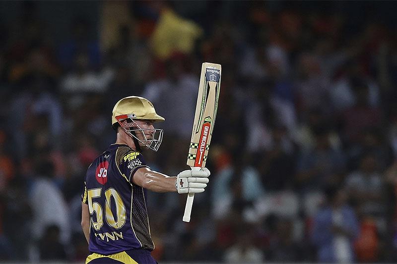 Kolkata Knight Riders player Chris Lynn raises his bat after scoring fifty runs during VIVO IPL cricket T20 match against Sunrisers Hyderabad in Hyderabad, India, Saturday, May 19, 2018. Photo: AP