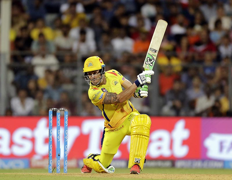Chennai Super Kings' Faf du Plessis bats during the VIVO IPL cricket T20 match against the Sunrisers Hyderabad , in Mumbai, India, on Tuesday, May 22, 2018. Photo: AP
