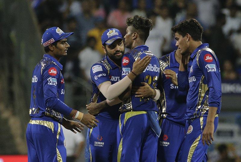 Mumbai Indian's players celebrate after they won the match against Kolkata Knight Riders' at the VIVO IPL cricket T20 match in Mumbai, India, on Sunday, May 6, 2018. Photo: AP