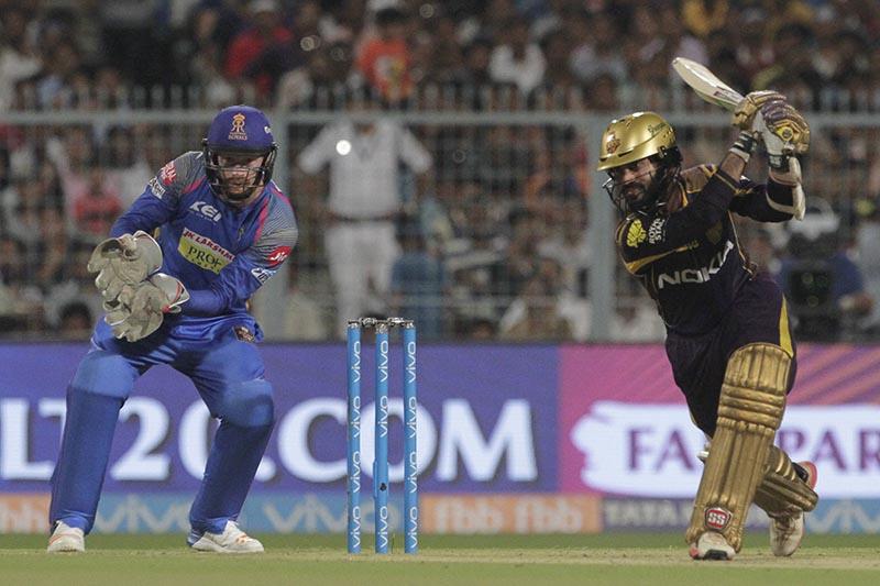 Kolkata Knight Riders' Dinesh Karthik bats during the VIVO IPL cricket T20 match against Rajasthan Royals in Kolkata, India, on Wednesday, May 23, 2018. Photo: AP