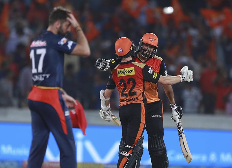 Sunrisers Hyderabad player Yusuf Pathan (right), and Kane Williamson celebrates after winning the match during VIVO IPL cricket T20 match against Delhi Daredevils in Hyderabad, India, on Saturday, May 5, 2018. Photo: AP