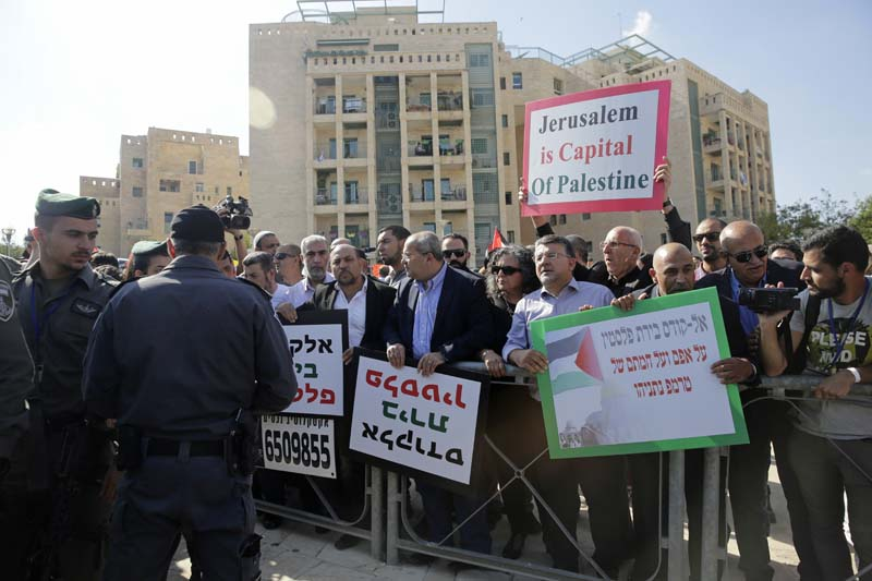 Israeli Arab Knesset members and left wing activists participate in protest against the opening of the new US embassy in Jerusalem, on Monday, May 14, 2018. Photo: Associated Press