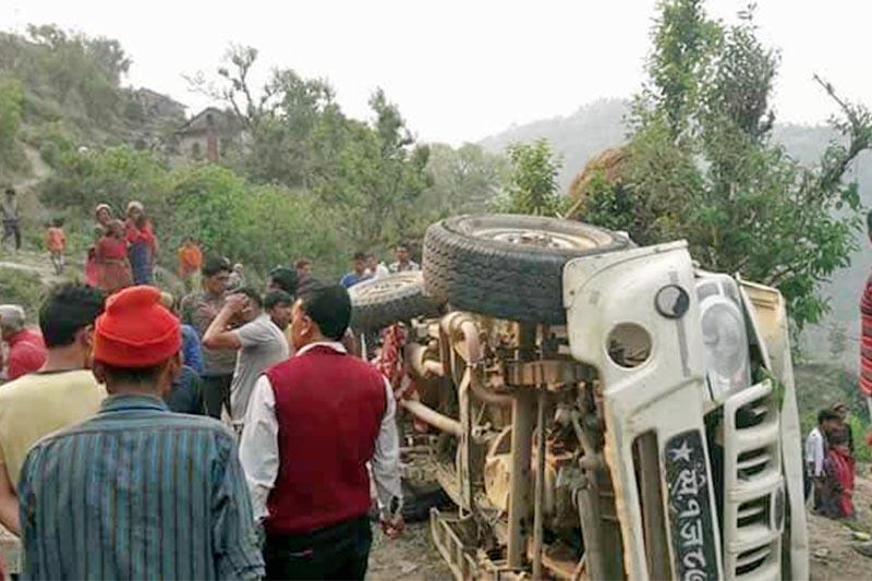 Locals gather around the accident site in Doti. Photo: Takendra Deuba