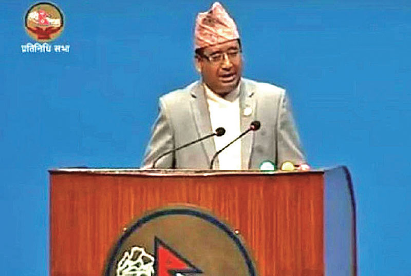 President of NOC and MP Jeevan Ram Shrestha speaking at the Parliament on Thursday.