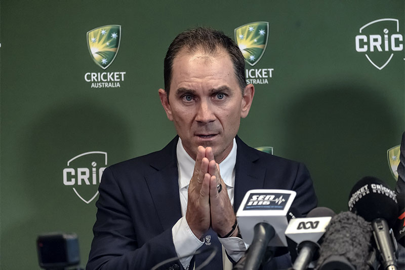 Justin Langer speaks to the media in Melbourne, Australia, May 3, 2018. Photo: Reuters