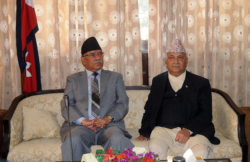 Chairpersons of Nepal Communist Party Pushpa Kamal Dahal (left) and KP Sharma Oli attending the partyu2019s Central Committee meeting, in Kathmandu, on Thursday, May 24, 2018. Photo: Balkrishna Thapa Chhetri/THT