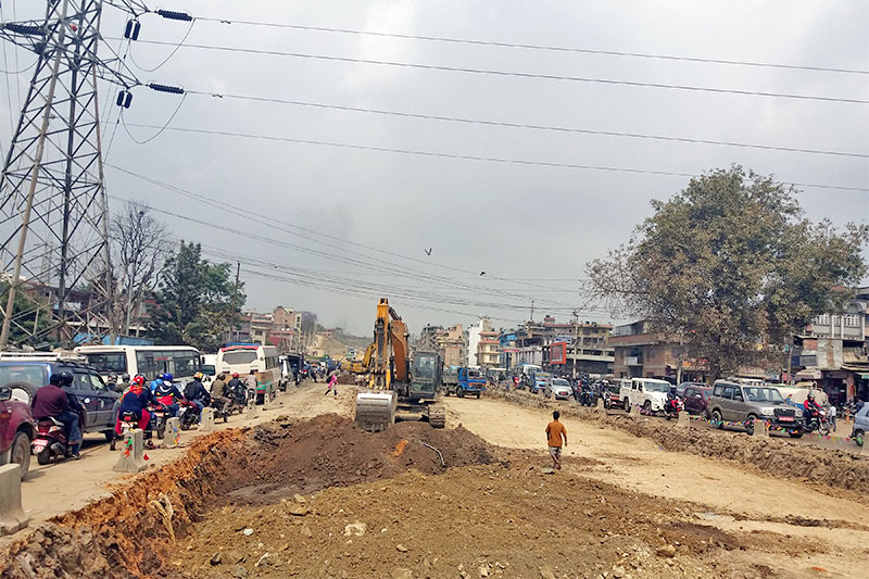 A road widening project in Kalanki--Koteshwor road section in Kathmandu, on Sunday, May 06, 2018. Photo: RSS