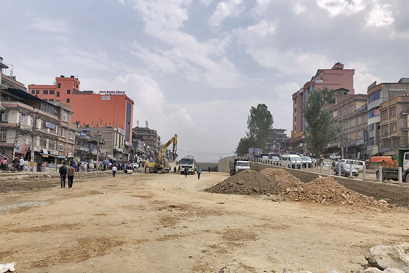 Vehicles plying from one section of the raod as under-pass is being constructed at Kalanki in Kathmandu, on Tuesday, May 29, 2018. The project is in the final phase of construction. Photo: Mausam Shah Nepali