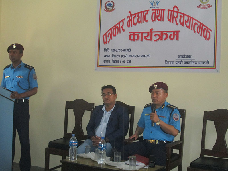 Superintendent of Police Om Bahadur Rana, Chief at Kaski District Police Office, making public his 12-point action plan at a press meet, in Pokhara, on Wednesday, May 16, 2018. Photo: Rishi Ram Baral