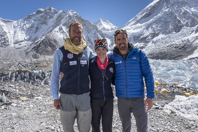 FIle Photo: From Left - Ben Fogle, Victoria Pendleton and Kenton Cool at Base Camp. Photo Courtesy: Twitter