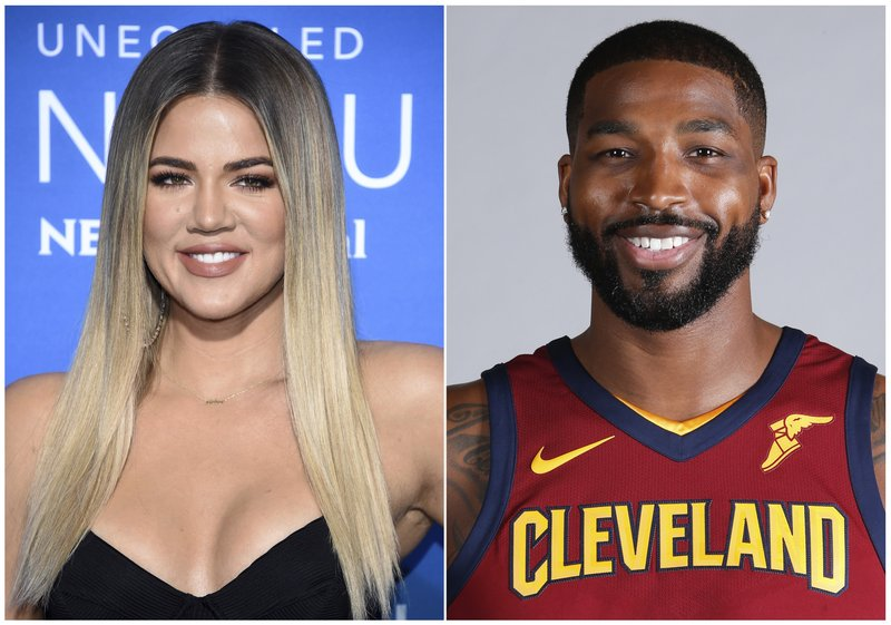 This combination photo shows television personality Khloe Kardashian at the NBCUniversal Network 2017 Upfront at Radio City Music Hall in New York on May 15, 2017, left, and Cleveland Cavaliersu2019 Tristan Thompson at the NBA basketball team media day in Independence, Ohio, on Sept. 25, 2017. Photo: AP