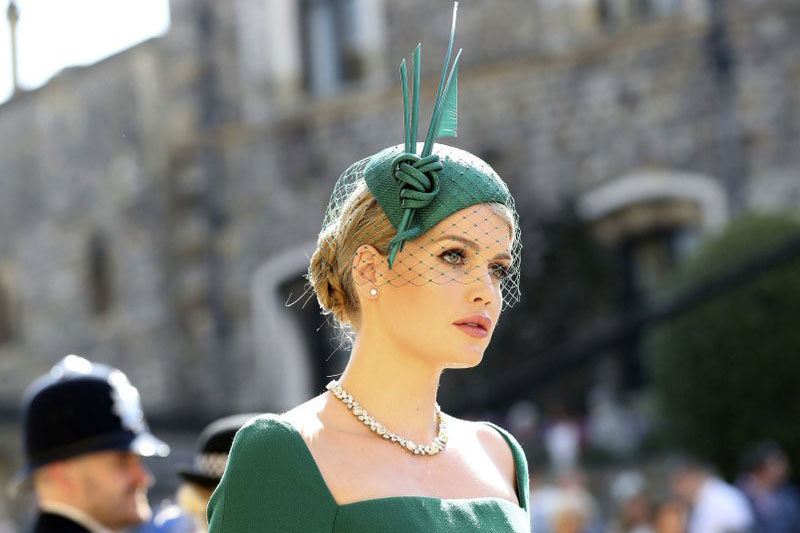 Lady Kitty Spencer arrives for the wedding ceremony of Prince Harry and meghan Markle at St. Gerogre's Chapel in Windsor Castle in Windsor, near London, England, Saturday, may 19, 2018. Photo: AP