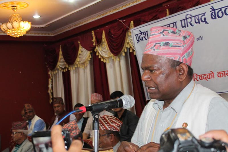 Minister for Federal Affairs and General Administration Lal Babu Pandit addressing a programme organised in Hetauda, on Tuesday, May 22, 2018. Photo: THT