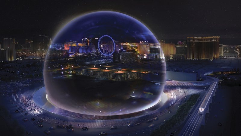 This conceptual rendering released by Madison Square Garden shows a transparent look theme exterior of the MSG Sphere Las Vegas arena. Photo: AP