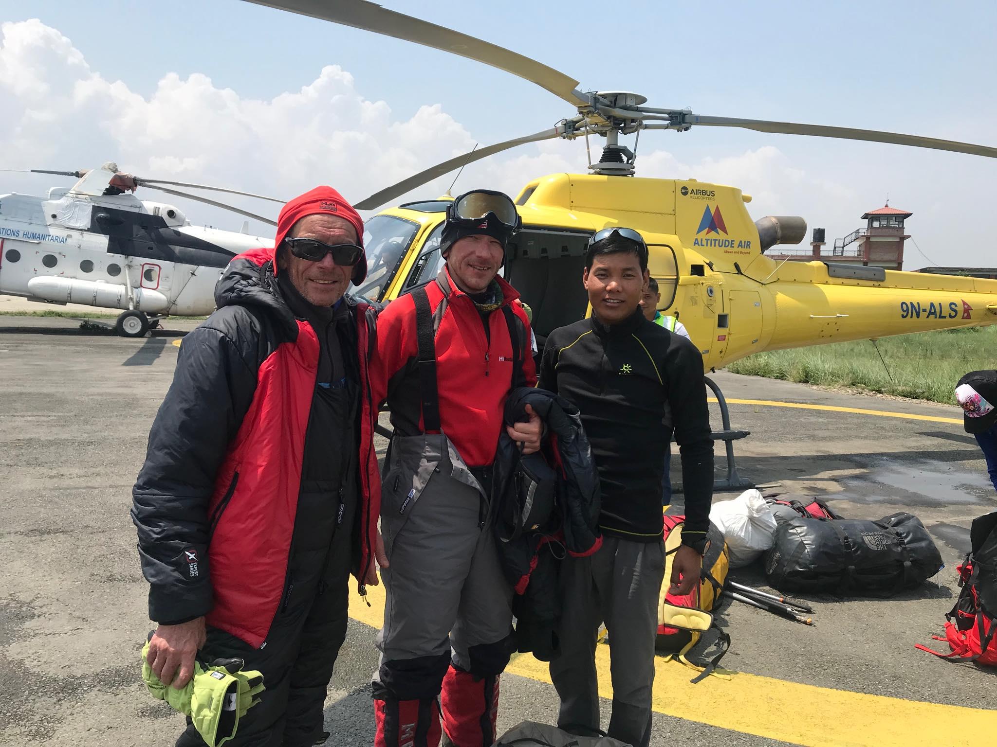 Lech Wieslaw Flaczynski and his son Wojciech Bartlomiej Flaczynski along with a climbing Sherpa at Tribhuvan International Airport. Photo: Mingma Sherpa