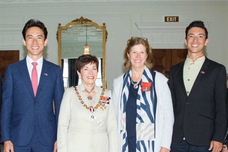 Lisa Choegyal (second from right) with the Governor General of New Zealand, Dame Patsy Reddy flanked by her sons Rinchen and Sangjay at Government House Wellington, on Thursday, May 17, 2018. Photo: THT