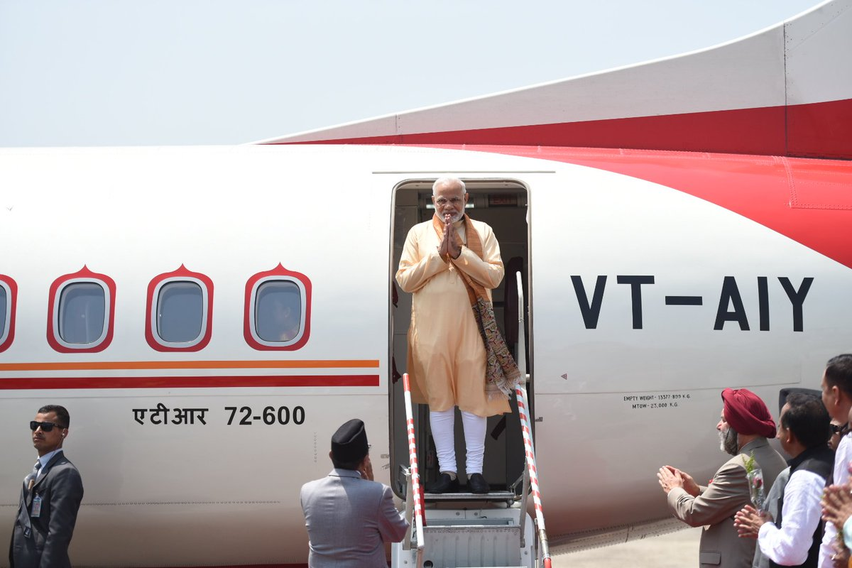 Indian Prime Minister Narendra Modi arrives in Janakpur, on Friday, May 11, 2018. Photo: MEA India/Twitter