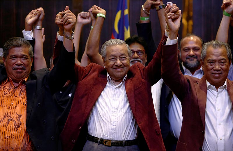 Mahathir Mohamad, former Malaysian prime minister and opposition candidate for Pakatan Harapan (Alliance of Hope) reacts during a news conference after general election, in Petaling Jaya, Malaysia, on Thursday, May 10, 2018. Photo: Reuters