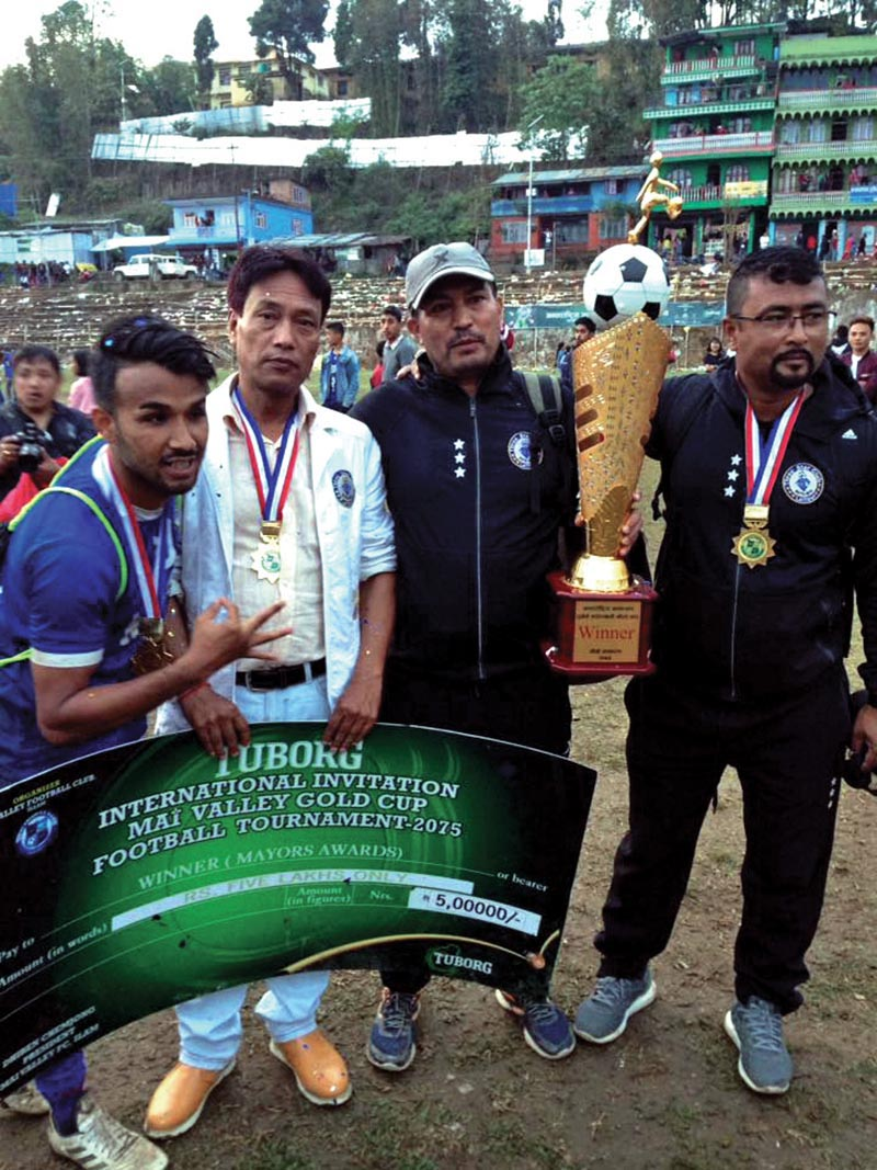 Three Star Club team members celebrate after winning the fourth Mai Valley Gold Cup in Ilam on Monday. THT