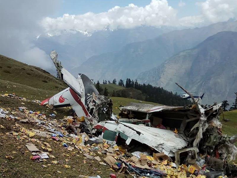 The wreckage of a Makalu Air cargo plane that crashed at Kharpunath Rural Municipality, Humla, on Wednesday, May 16, 2018. Photo courtesy: Nepal Army