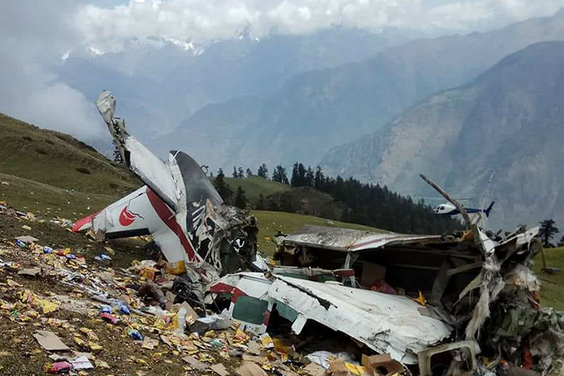 The wreckage of Makalu Air that crashed in Humla district, on Wednesday, May 16, 2018. Photo: RSS