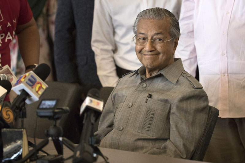 Mahathir Mohamad smiles during a press conference in Kuala Lumpur, Malaysia, on Thursday, May 10, 2018. Photo: Asoociated Press