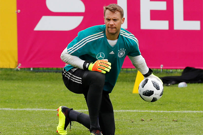 Germany's Manuel Neuer during training. Photo: Reuters