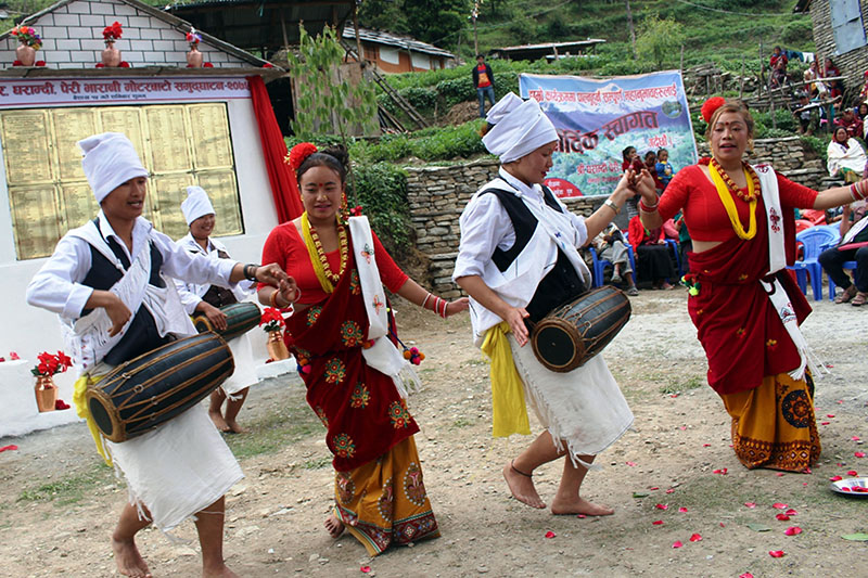 Artist clad in traditional Magar attires performing Maruni dance in Myagdi district, on Wednesday, May 02, 2018. Photo: RSS