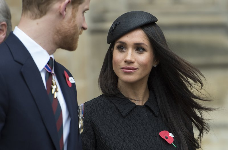 File - In this photo, Britainu2019s Prince Harry and Meghan Markle attend a Service of Thanksgiving and Commemoration on ANZAC Day at Westminster Abbey in London on April 25, 2018. Photo: AP