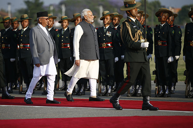Prime Minister KP Sharma Oli and his Indian counterpart Narendra Modi witness the guard of honour in Tundikhel, Kathmandu, on Friday, May 11, 2018. Photo: Skanda Gautam