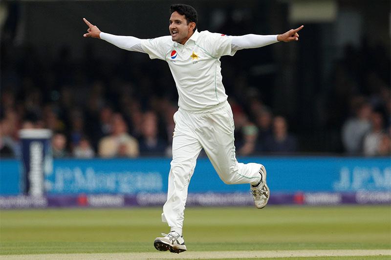Pakistan's Mohammad Abbas celebrates taking the wicket of England's Mark Stoneman. Photo: Reuters
