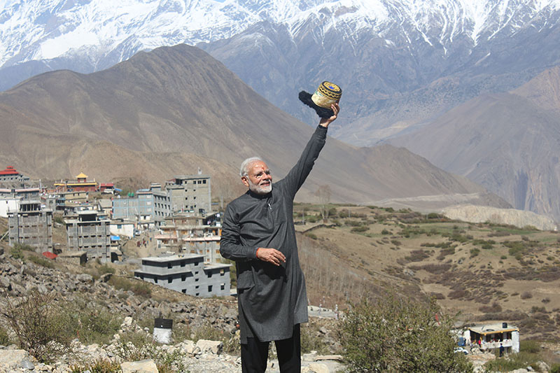 Indian PM Modi observing the Muktinath area after offering prayers and worshipping at Muktinath Temple, on Saturday, May 12, 2018. Photo: RSS