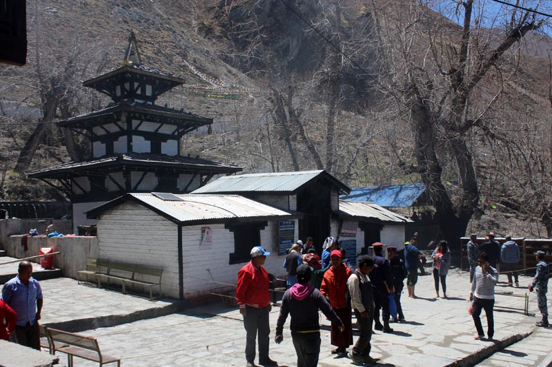 Cleaning activities being conducted on the premises Muntinath temple in Mustang district, on Wednesday, May 9, 2018. Indian Prime Minister Narendra Modi is scheduled to pay homage to the temple on Saturday morning during his two-day Nepal visit from May 11-12. Photo: RSS