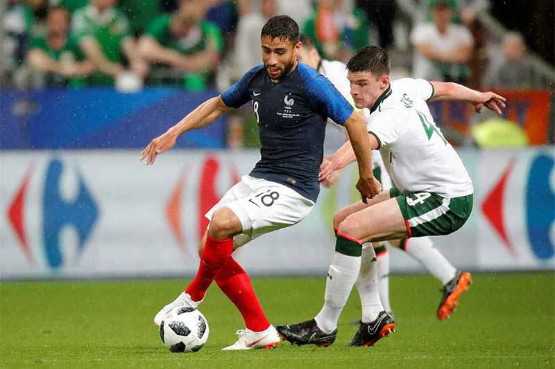 Franceu2019s Nabil Fekir in action with Republic of Ireland's Declan Rice. Photo: Reuters