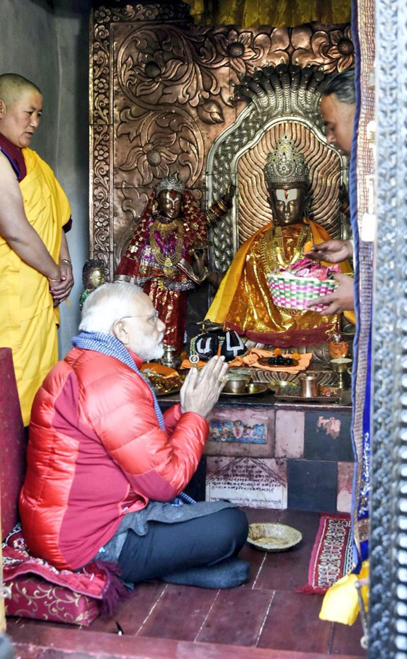 Indian Prime Minister Narendra Modi takes part in Shodashopachara worship ceremony at Muktinath temple in Mustang district, on Saturday, May 12, 2018. Photo: MEA India Twitter