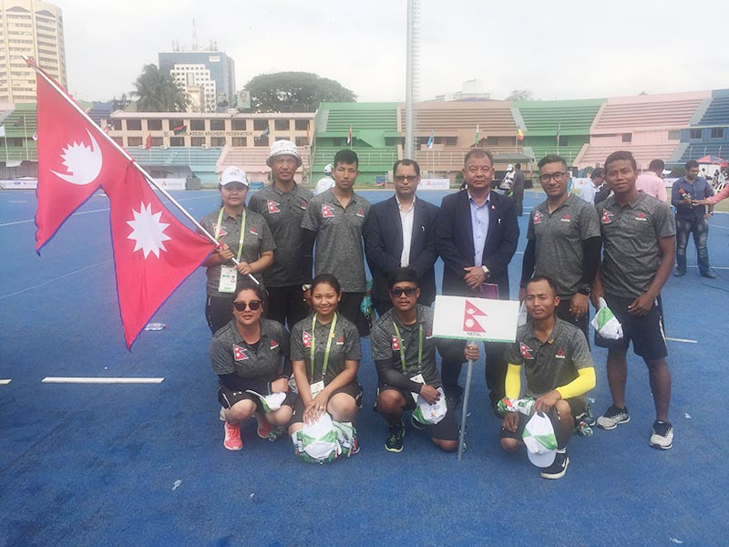 Nepal archery team members pose for a group photo after the second ISSF International Solidarity Archery Championship in Dhaka on Wednesday, May 9, 2018. Photo: THT