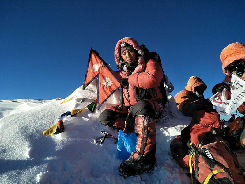 Ngima Nuru Sherpa (37) on the summit of Mt Everest for the 21st time, on Wednesday, May 16, 2018. Photo: Ngima Nuru Sherpa