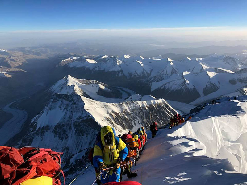 Climbers heading to the summit of Mt Everest from North Col. Photo: Alex Abramov