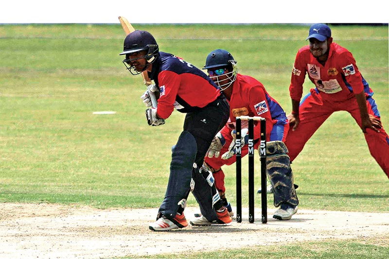 Sunil Dhamala of Nepal Police Club bats against Province7 during their PM Cup One Day Cricket Tournament at the TU Stadium on Monday. Photo: Udipt Singh Chhetry/ THT