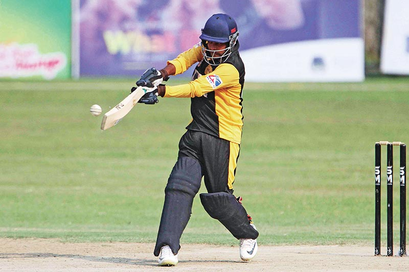 Rupesh Shrivastav of Province3 batting against Province6u00a0 during their PM Cup One Day Cricket Tournament match at the TU Stadium on Tuesday. Photo: Udipt Singh Chhetry/ THT