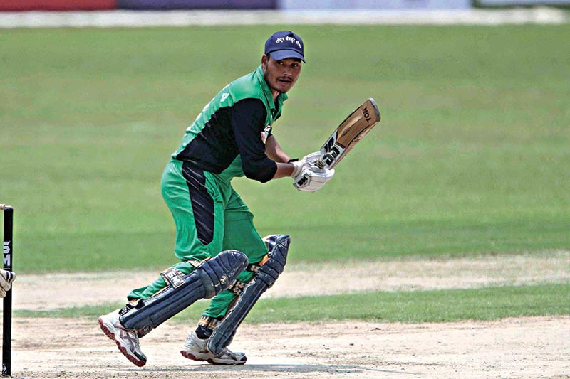 Hari Bahadur Chauhan of Province 4 bats against Province 1 during their PM Cup match at the TU Stadium on Wednesday. Photo: Udipt Singh Chhetry/ THT
