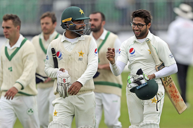 Pakistan's Shadab Khan and Imam Ul Haq (right), celebrate victory on day five against Ireland, at The Village, Dublin, on Tuesday, May 15, 2018. Photo: Niall Carson/PA via AP